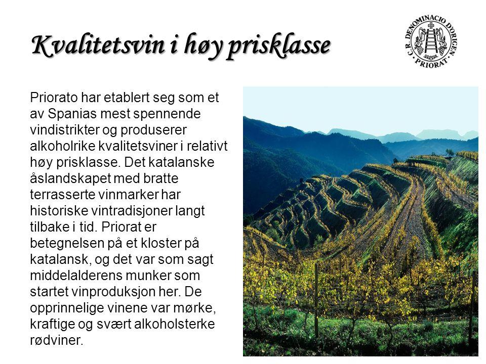 Kvalitetsvin i høy prisklasse Priorato har etablert seg som et av Spanias mest spennende vindistrikter og produserer alkoholrike kvalitetsviner i rela