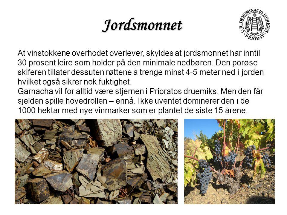 Jordsmonnet At vinstokkene overhodet overlever, skyldes at jordsmonnet har inntil 30 prosent leire som holder på den minimale nedbøren. Den porøse ski