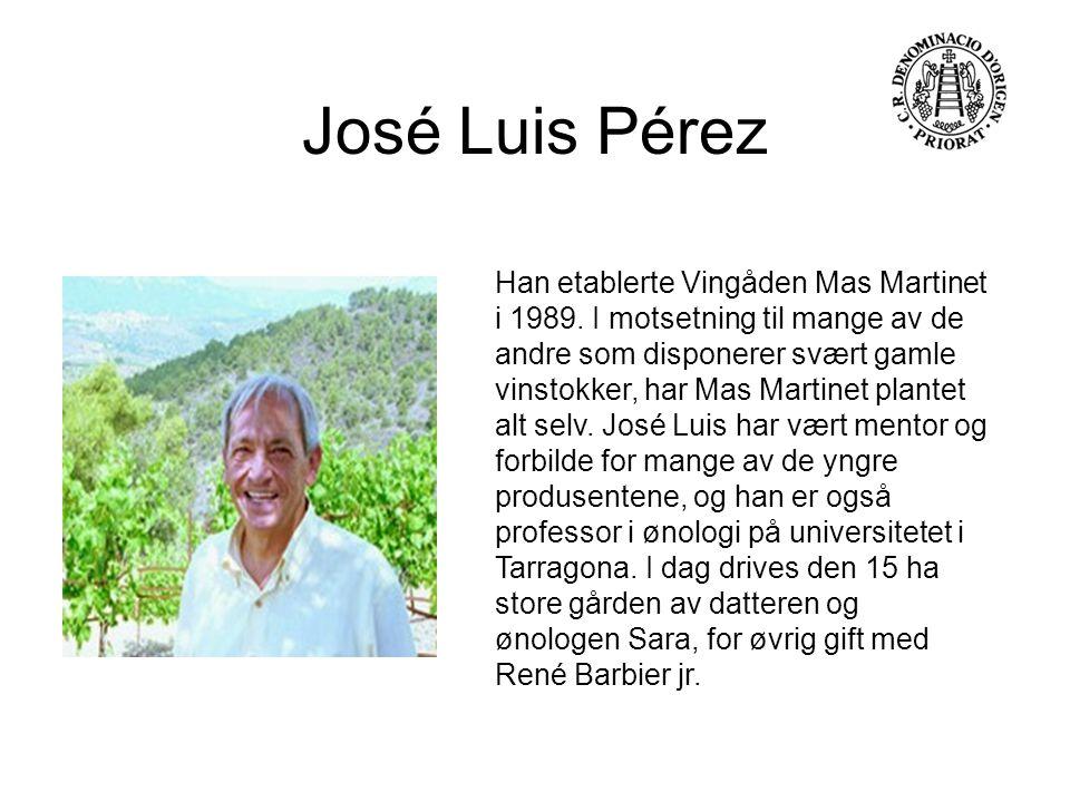 José Luis Pérez Han etablerte Vingåden Mas Martinet i 1989. I motsetning til mange av de andre som disponerer svært gamle vinstokker, har Mas Martinet