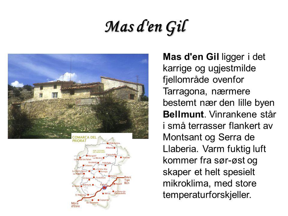 Mas d'en Gil ligger i det karrige og ugjestmilde fjellområde ovenfor Tarragona, nærmere bestemt nær den lille byen Bellmunt. Vinrankene står i små ter