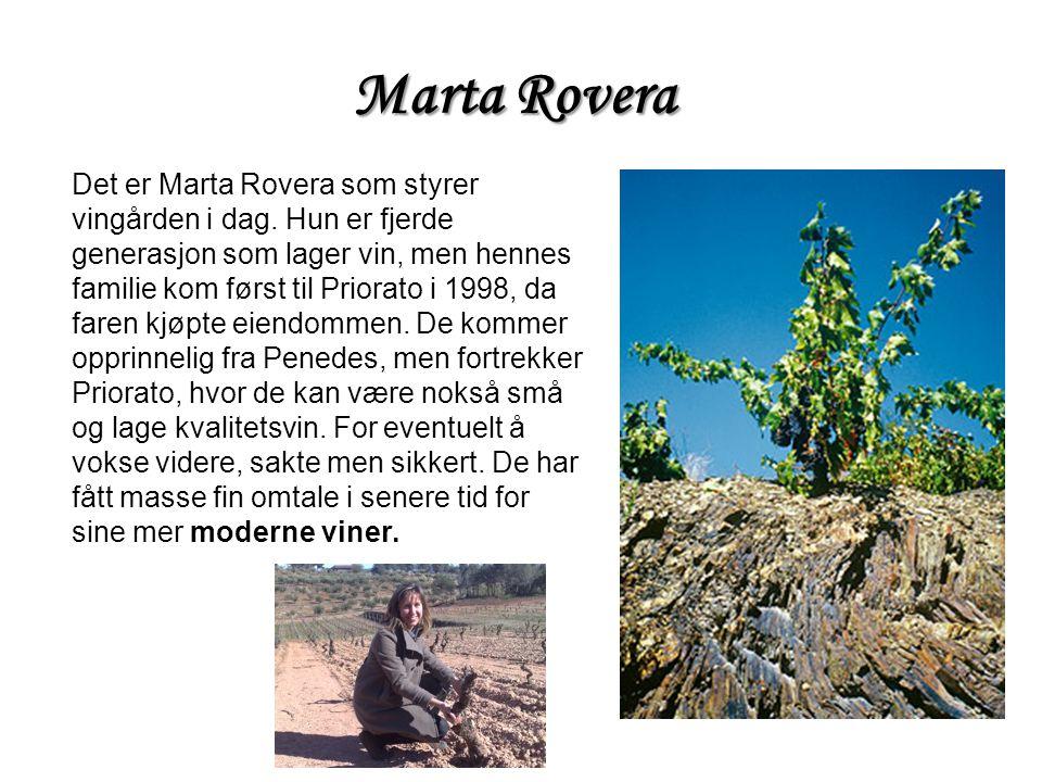Marta Rovera Det er Marta Rovera som styrer vingården i dag. Hun er fjerde generasjon som lager vin, men hennes familie kom først til Priorato i 1998,