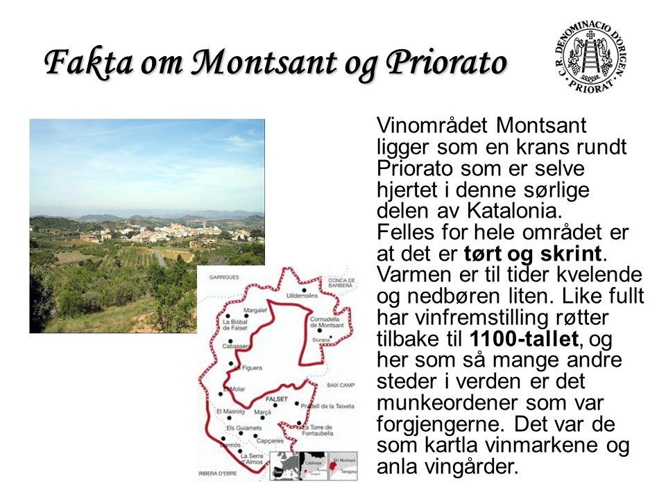 Fakta om Montsant og Priorato Vinområdet Montsant ligger som en krans rundt Priorato som er selve hjertet i denne sørlige delen av Katalonia. Felles f
