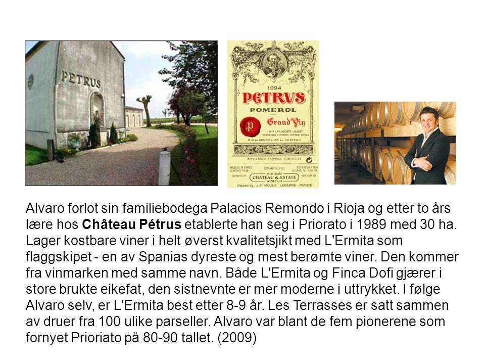Alvaro forlot sin familiebodega Palacios Remondo i Rioja og etter to års lære hos Château Pétrus etablerte han seg i Priorato i 1989 med 30 ha. Lager