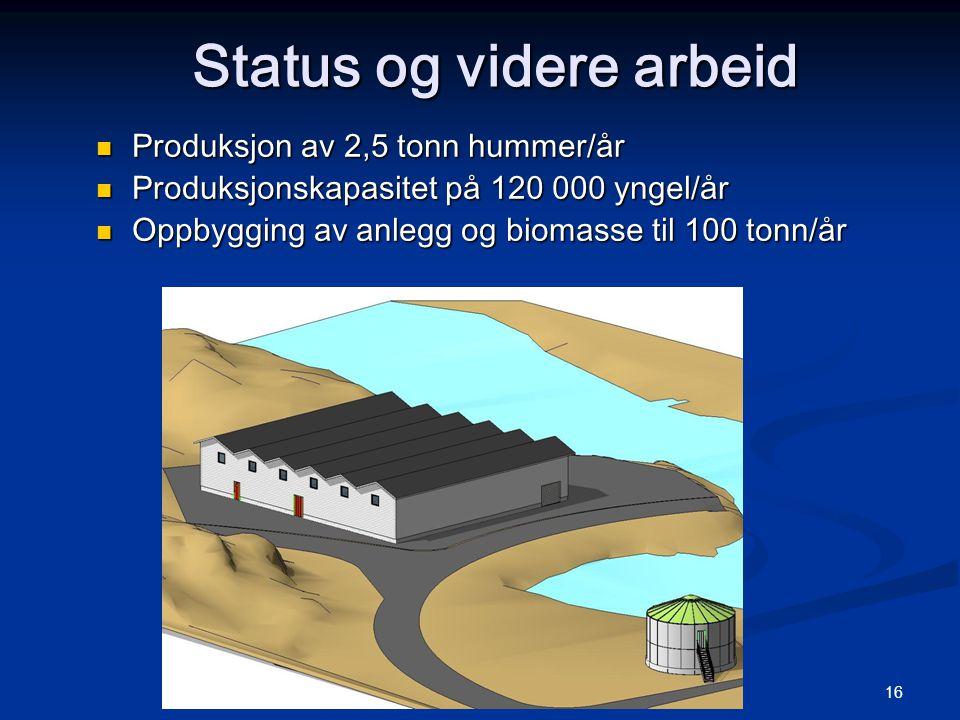 © Norwegian Lobster Farm AS 16 Status og videre arbeid  Produksjon av 2,5 tonn hummer/år  Produksjonskapasitet på 120 000 yngel/år  Oppbygging av anlegg og biomasse til 100 tonn/år