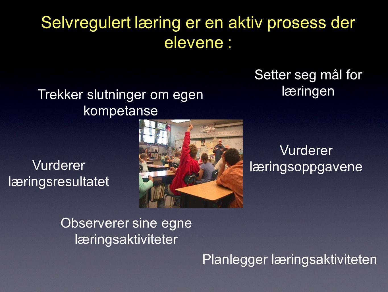 Selvregulert læring er en aktiv prosess der elevene : Setter seg mål for læringen Vurderer læringsoppgavene Planlegger læringsaktiviteten Observerer sine egne læringsaktiviteter Vurderer læringsresultatet Trekker slutninger om egen kompetanse
