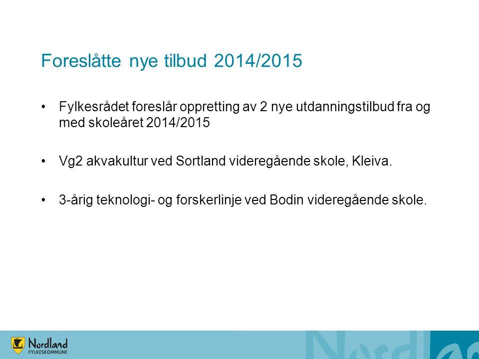 Foreslåtte nye tilbud 2014/2015 •Fylkesrådet foreslår oppretting av 2 nye utdanningstilbud fra og med skoleåret 2014/2015 •Vg2 akvakultur ved Sortland
