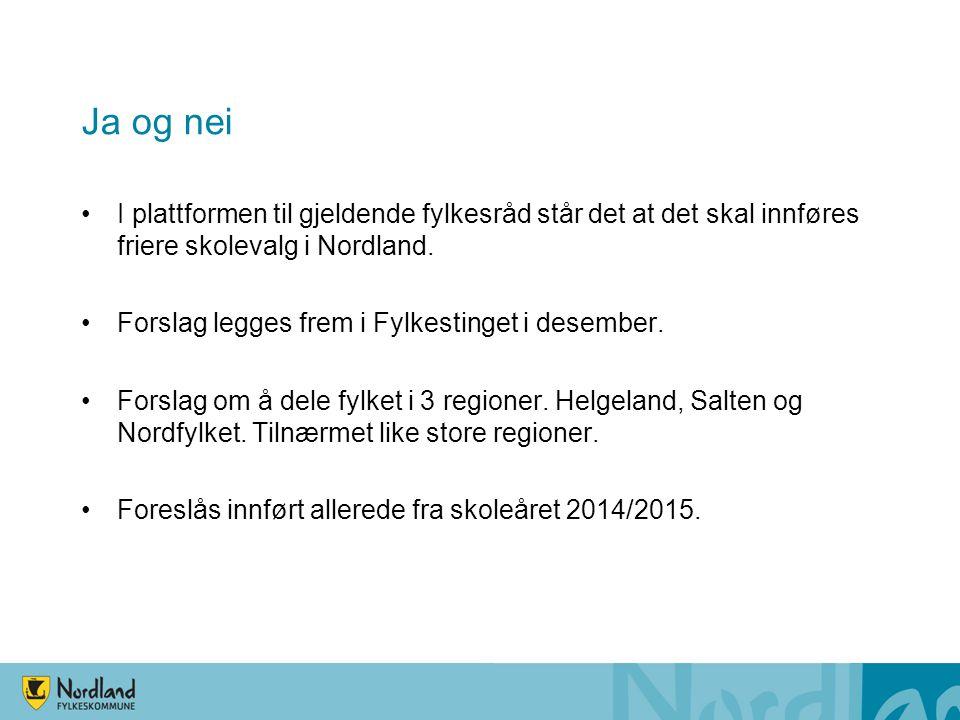Ja og nei •I plattformen til gjeldende fylkesråd står det at det skal innføres friere skolevalg i Nordland. •Forslag legges frem i Fylkestinget i dese