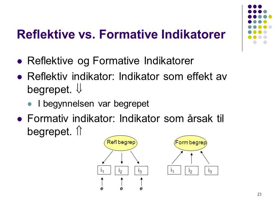 23 Reflektive vs. Formative Indikatorer  Reflektive og Formative Indikatorer  Reflektiv indikator: Indikator som effekt av begrepet.   I begynnels