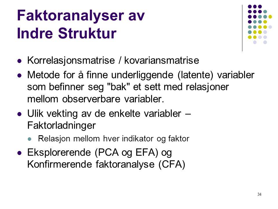 34 Faktoranalyser av Indre Struktur  Korrelasjonsmatrise / kovariansmatrise  Metode for å finne underliggende (latente) variabler som befinner seg