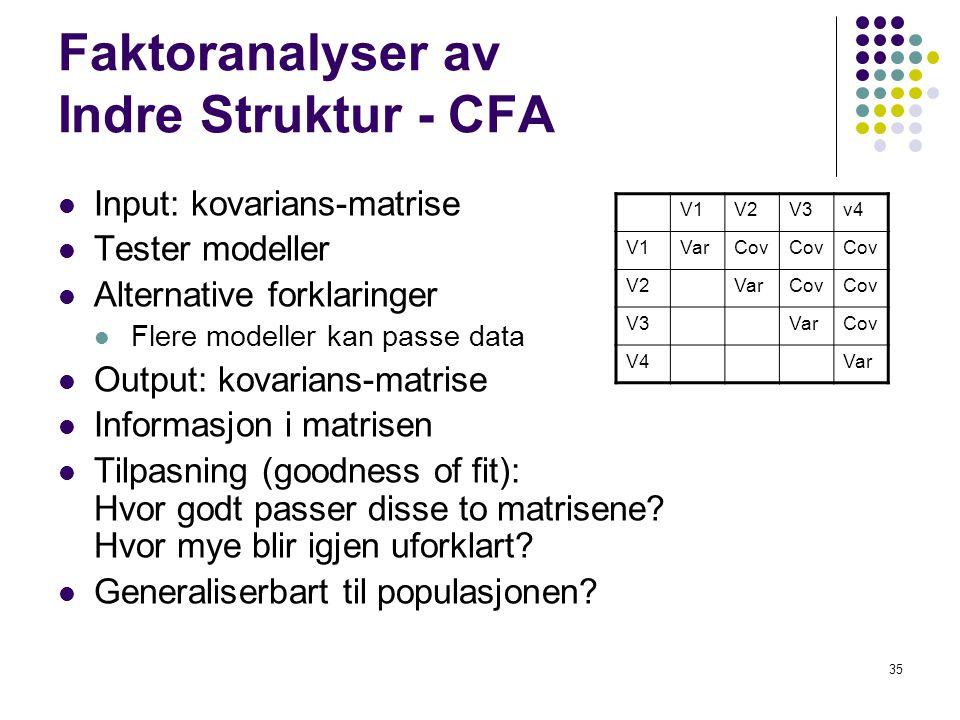 35 Faktoranalyser av Indre Struktur - CFA  Input: kovarians-matrise  Tester modeller  Alternative forklaringer  Flere modeller kan passe data  Ou