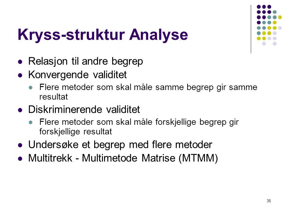 36 Kryss-struktur Analyse  Relasjon til andre begrep  Konvergende validitet  Flere metoder som skal måle samme begrep gir samme resultat  Diskrimi