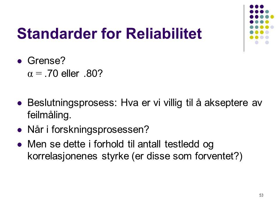 53 Standarder for Reliabilitet  Grense? α =.70 eller.80?  Beslutningsprosess: Hva er vi villig til å akseptere av feilmåling.  Når i forskningspros