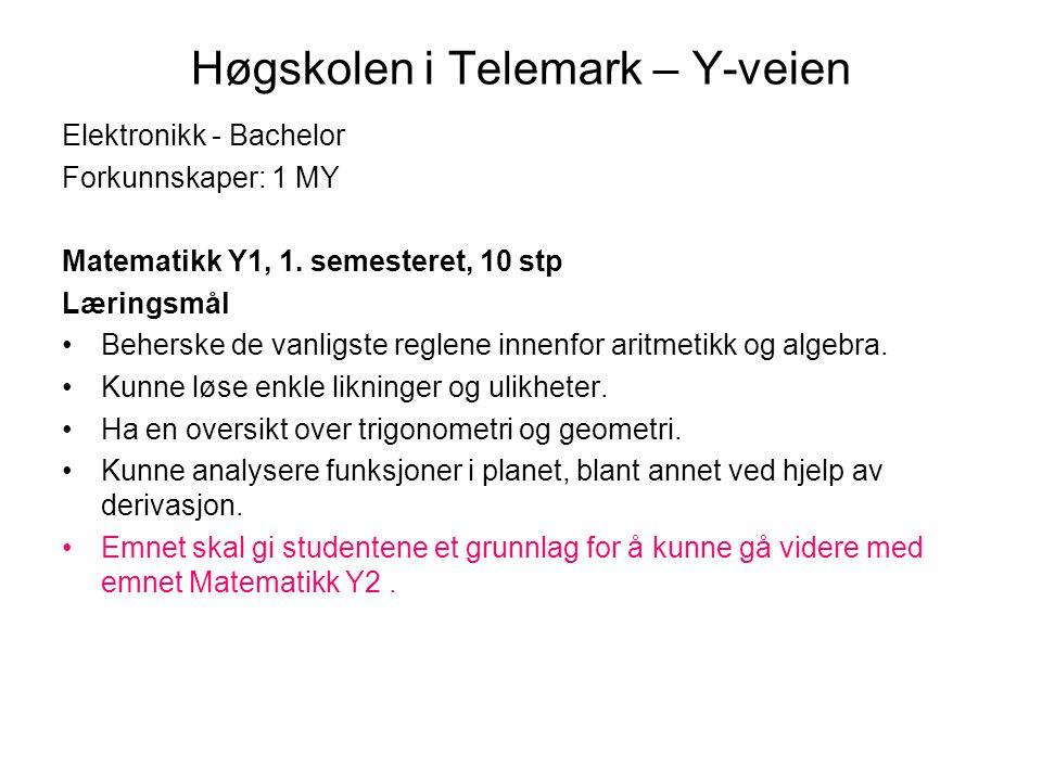 Høgskolen i Telemark – Y-veien Elektronikk - Bachelor Forkunnskaper: 1 MY Matematikk Y1, 1. semesteret, 10 stp Læringsmål •Beherske de vanligste regle
