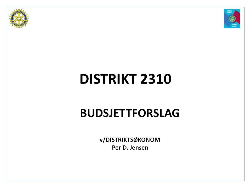 DISTRIKT 2310 BUDSJETTFORSLAG v/DISTRIKTSØKONOM Per D. Jensen