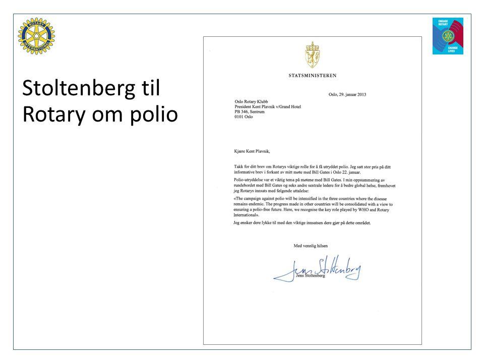Stoltenberg til Rotary om polio