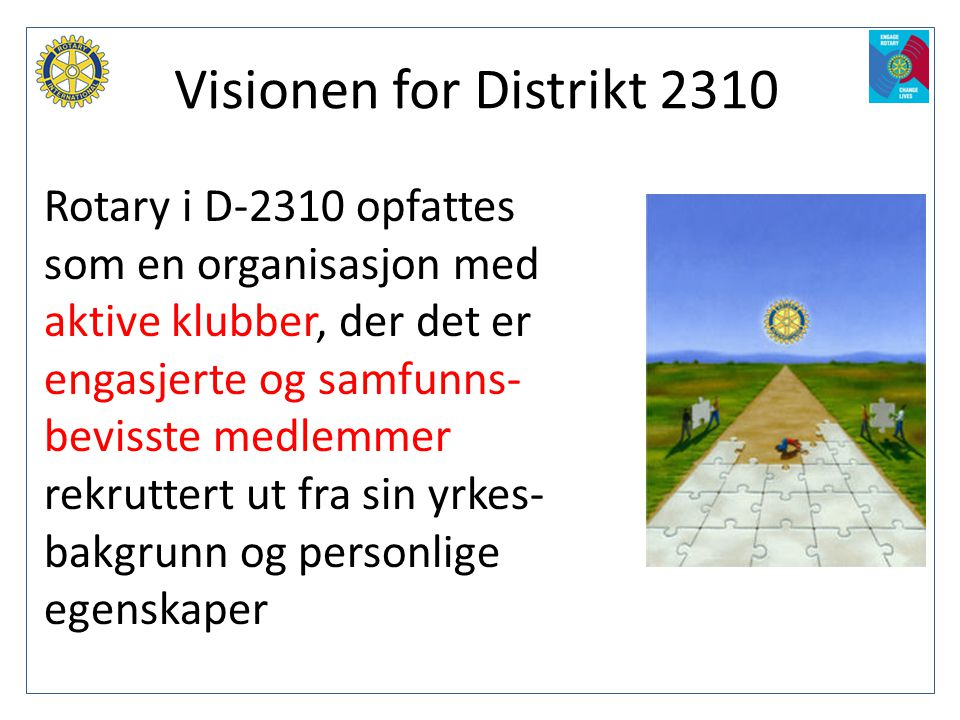 Visionen for Distrikt 2310 Rotary i D-2310 opfattes som en organisasjon med aktive klubber, der det er engasjerte og samfunns- bevisste medlemmer rekr