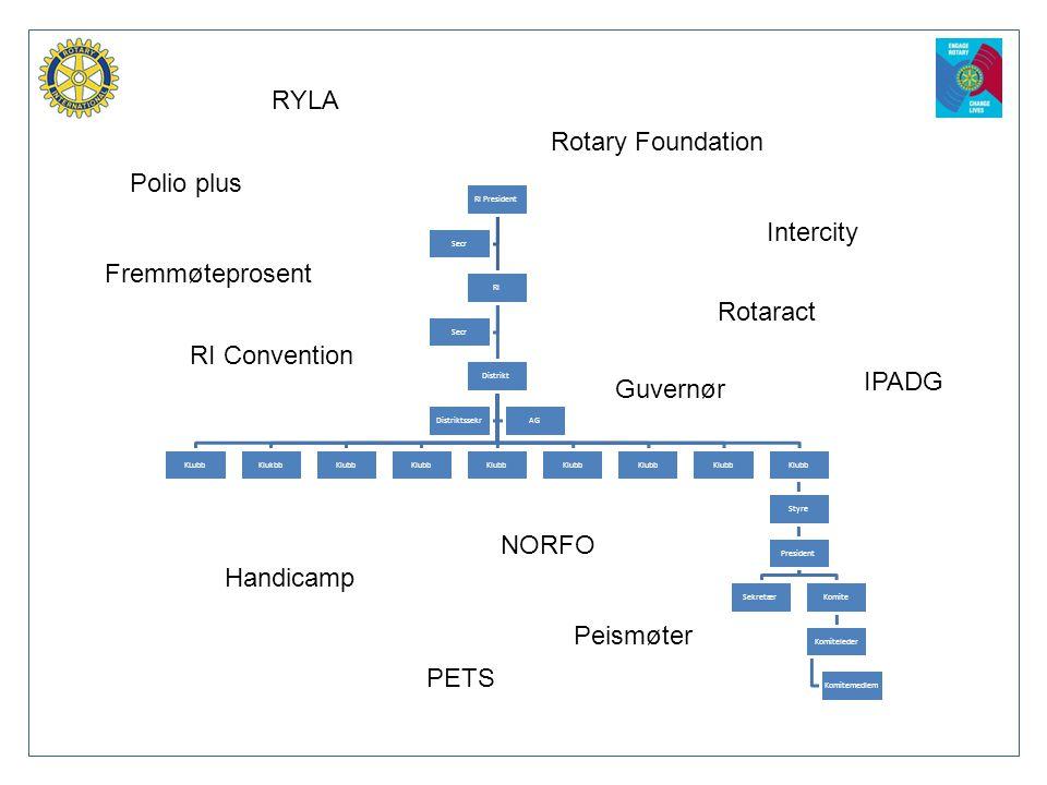 Polio plus RYLA RI Convention Rotary Foundation Handicamp Rotaract Fremmøteprosent Peismøter Intercity IPADG NORFO PETS Guvernør