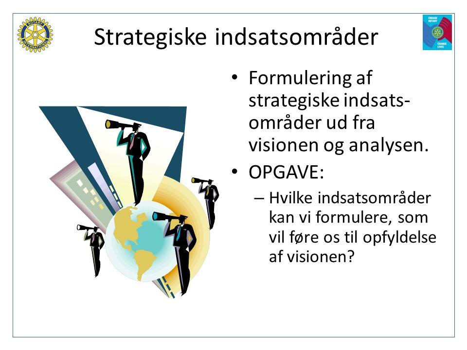 Strategiske indsatsområder • Formulering af strategiske indsats- områder ud fra visionen og analysen. • OPGAVE: – Hvilke indsatsområder kan vi formule