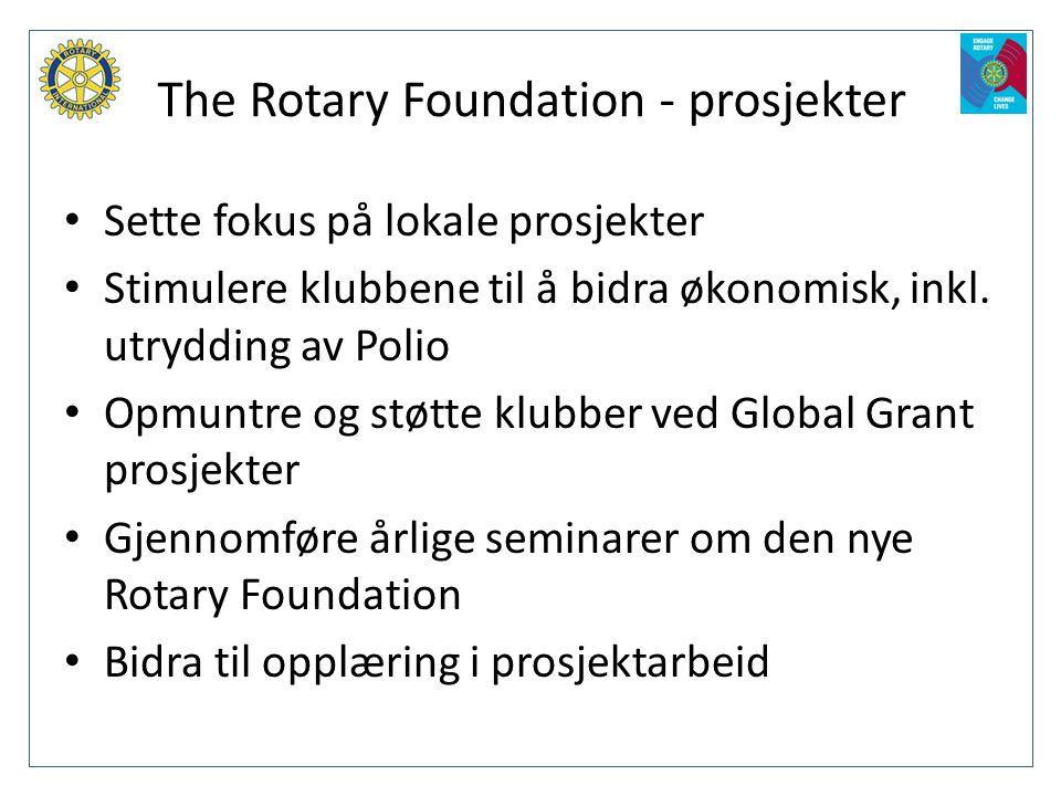 The Rotary Foundation - prosjekter • Sette fokus på lokale prosjekter • Stimulere klubbene til å bidra økonomisk, inkl. utrydding av Polio • Opmuntre