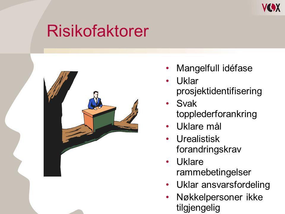 Risikofaktorer •Mangelfull idéfase •Uklar prosjektidentifisering •Svak topplederforankring •Uklare mål •Urealistisk forandringskrav •Uklare rammebetin