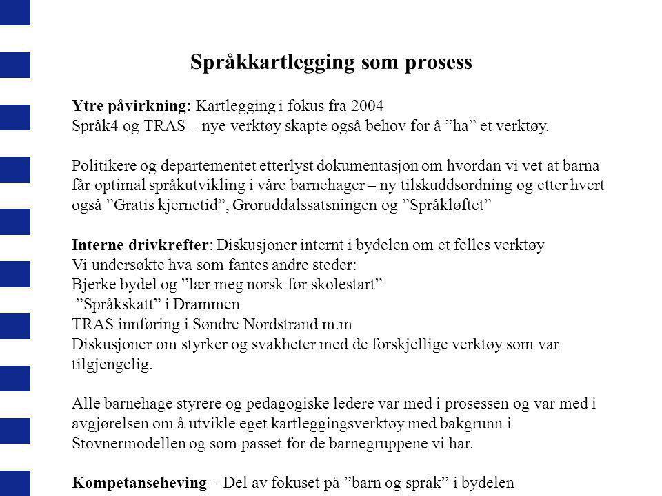 """Språkkartlegging som prosess Ytre påvirkning: Kartlegging i fokus fra 2004 Språk4 og TRAS – nye verktøy skapte også behov for å """"ha"""" et verktøy. Polit"""