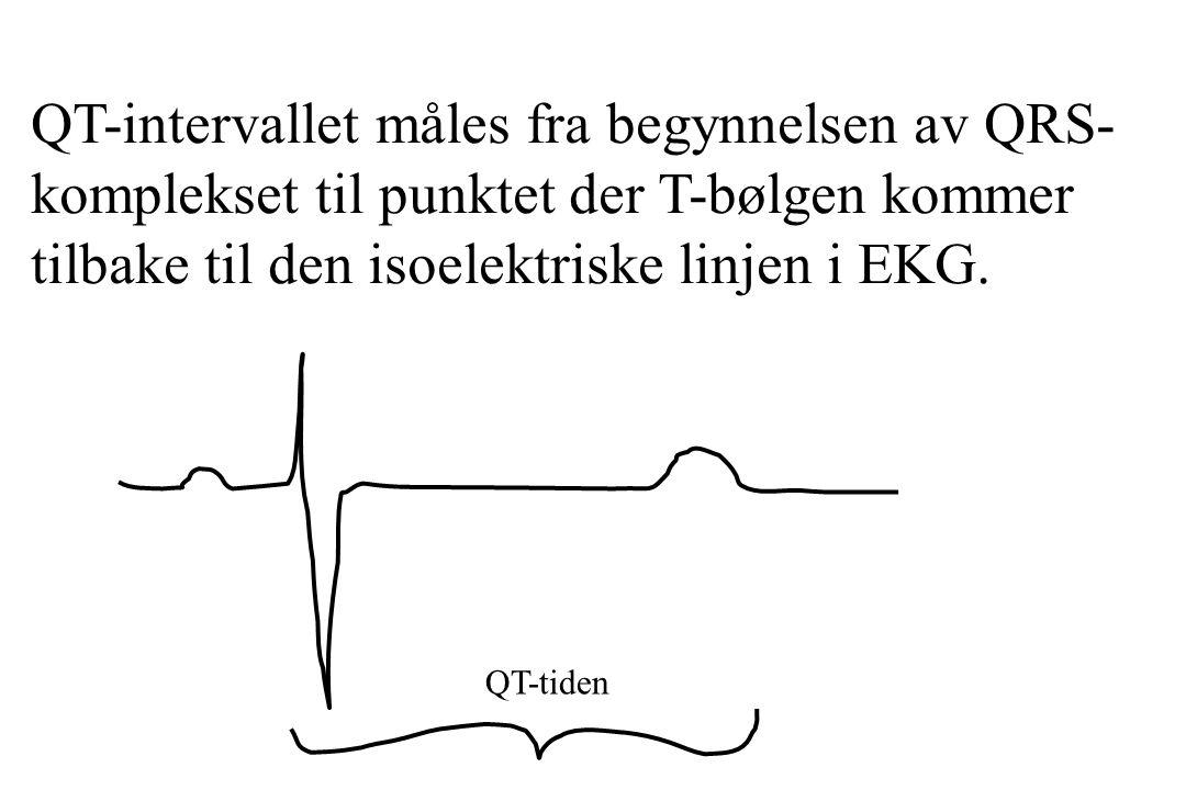 QT-intervallet måles fra begynnelsen av QRS- komplekset til punktet der T-bølgen kommer tilbake til den isoelektriske linjen i EKG. QT-tiden