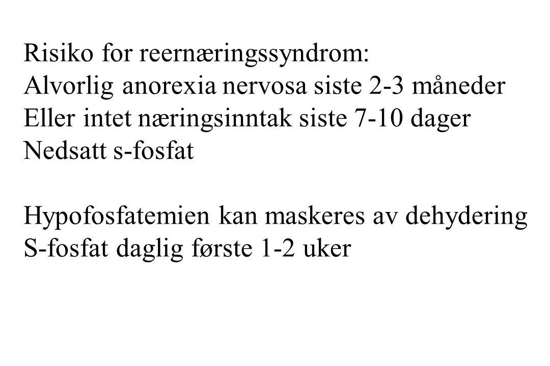 Risiko for reernæringssyndrom: Alvorlig anorexia nervosa siste 2-3 måneder Eller intet næringsinntak siste 7-10 dager Nedsatt s-fosfat Hypofosfatemien