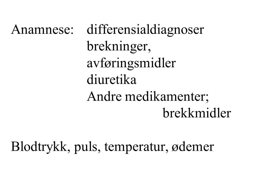 Anamnese: differensialdiagnoser brekninger, avføringsmidler diuretika Andre medikamenter; brekkmidler Blodtrykk, puls, temperatur, ødemer