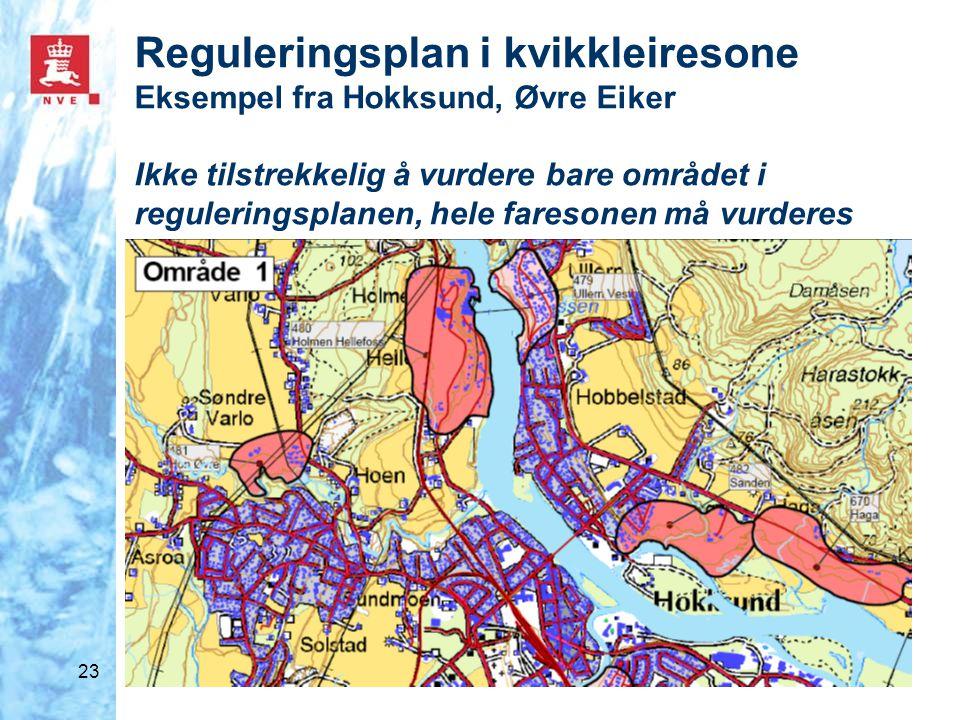 23 Reguleringsplan i kvikkleiresone Eksempel fra Hokksund, Øvre Eiker Ikke tilstrekkelig å vurdere bare området i reguleringsplanen, hele faresonen må