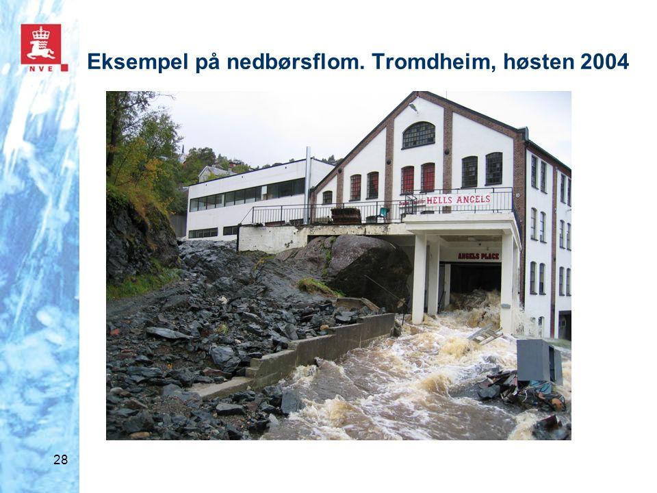 28 Eksempel på nedbørsflom. Tromdheim, høsten 2004