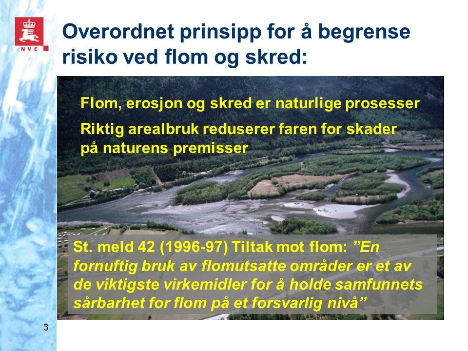 """3 Overordnet prinsipp for å begrense risiko ved flom og skred: St. meld 42 (1996-97) Tiltak mot flom: """"En fornuftig bruk av flomutsatte områder er et"""