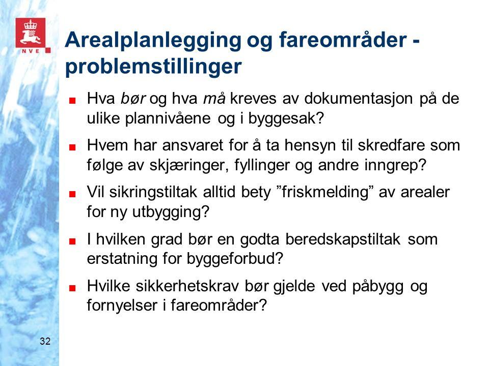 32 Arealplanlegging og fareområder - problemstillinger ■ Hva bør og hva må kreves av dokumentasjon på de ulike plannivåene og i byggesak? ■ Hvem har a