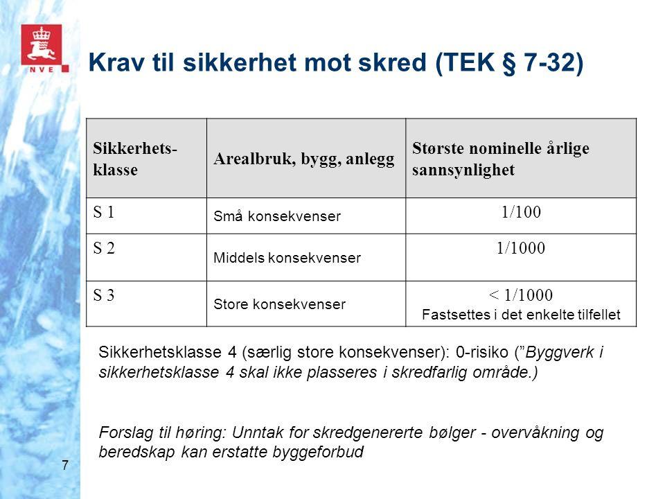 8 Tiltaksklasse Faregradklasse før utbygging LavMiddelsHøy K1: Små tiltak uten tilflytting av mennesker.
