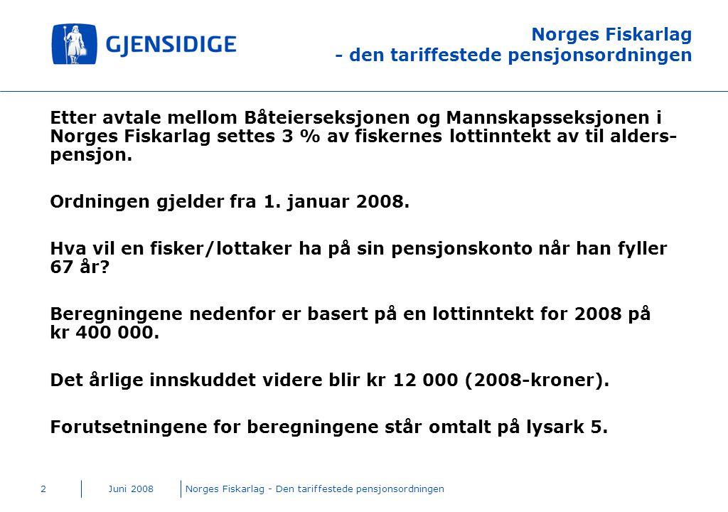 Juni 2008Norges Fiskarlag - Den tariffestede pensjonsordningen2 Norges Fiskarlag - den tariffestede pensjonsordningen Etter avtale mellom Båteierseksj