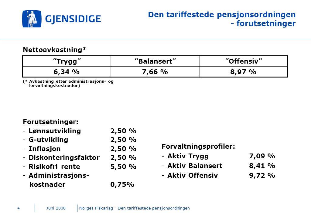 Juni 2008Norges Fiskarlag - Den tariffestede pensjonsordningen4 Den tariffestede pensjonsordningen - forutsetninger Nettoavkastning* (* Avkastning ett