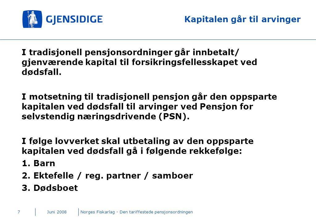 Juni 2008Norges Fiskarlag - Den tariffestede pensjonsordningen7 Kapitalen går til arvinger I tradisjonell pensjonsordninger går innbetalt/ gjenværende