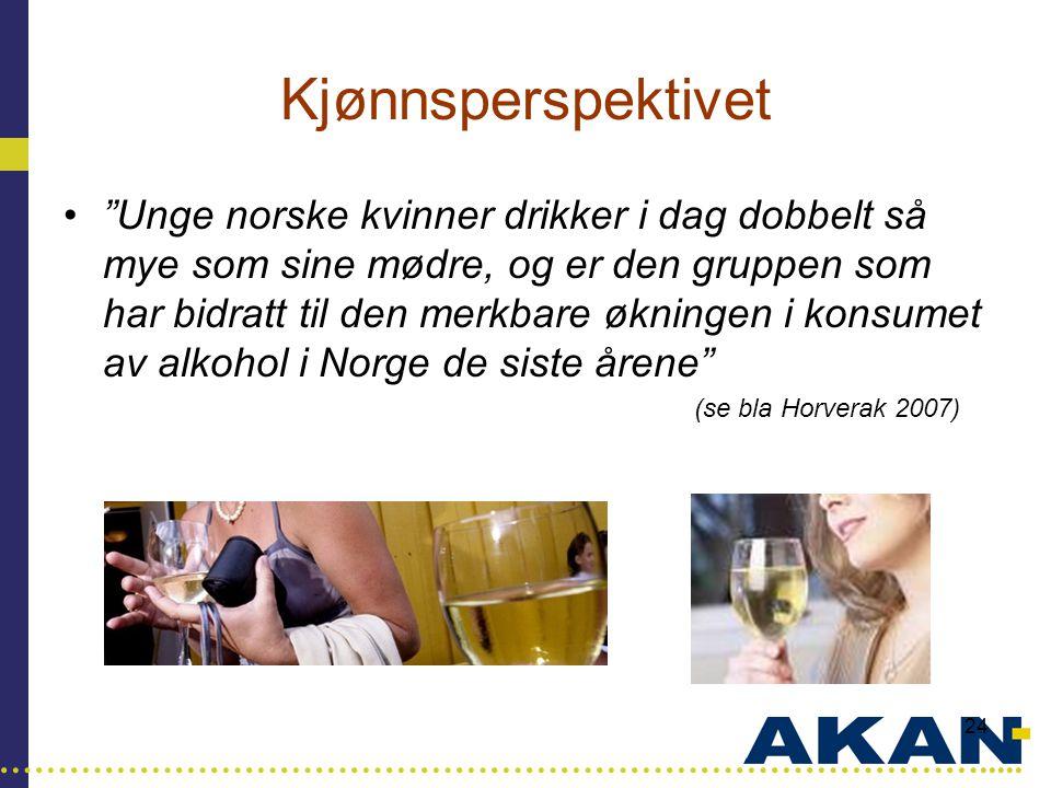 """…………………………………………………………………………..... 24 Kjønnsperspektivet •""""Unge norske kvinner drikker i dag dobbelt så mye som sine mødre, og er den gruppen som har b"""