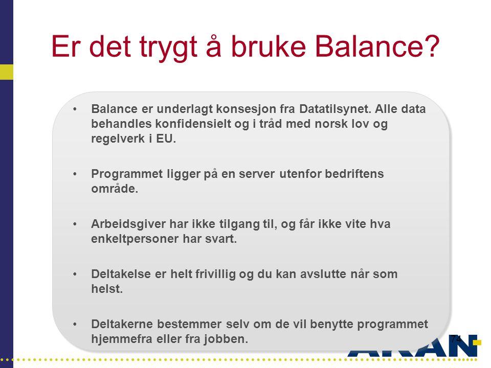…………………………………………………………………………..... 74 Er det trygt å bruke Balance? •Balance er underlagt konsesjon fra Datatilsynet. Alle data behandles konfidensielt