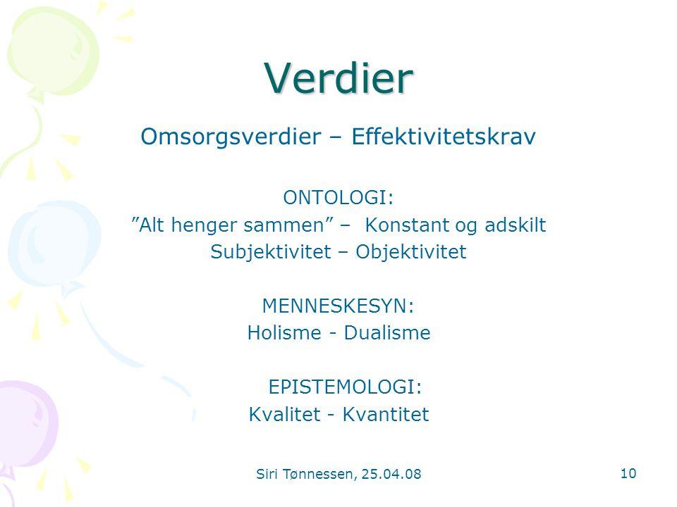 """Siri Tønnessen, 25.04.08 10 Verdier Omsorgsverdier – Effektivitetskrav ONTOLOGI: """"Alt henger sammen"""" – Konstant og adskilt Subjektivitet – Objektivite"""