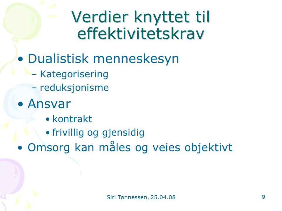 Siri Tønnessen, 25.04.08 9 Verdier knyttet til effektivitetskrav •Dualistisk menneskesyn –Kategorisering –reduksjonisme •Ansvar •kontrakt •frivillig o