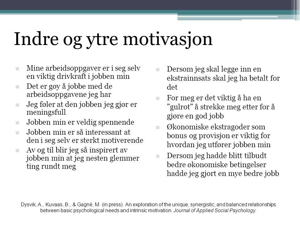 Indre og ytre motivasjon  Mine arbeidsoppgaver er i seg selv en viktig drivkraft i jobben min  Det er gøy å jobbe med de arbeidsoppgavene jeg har 