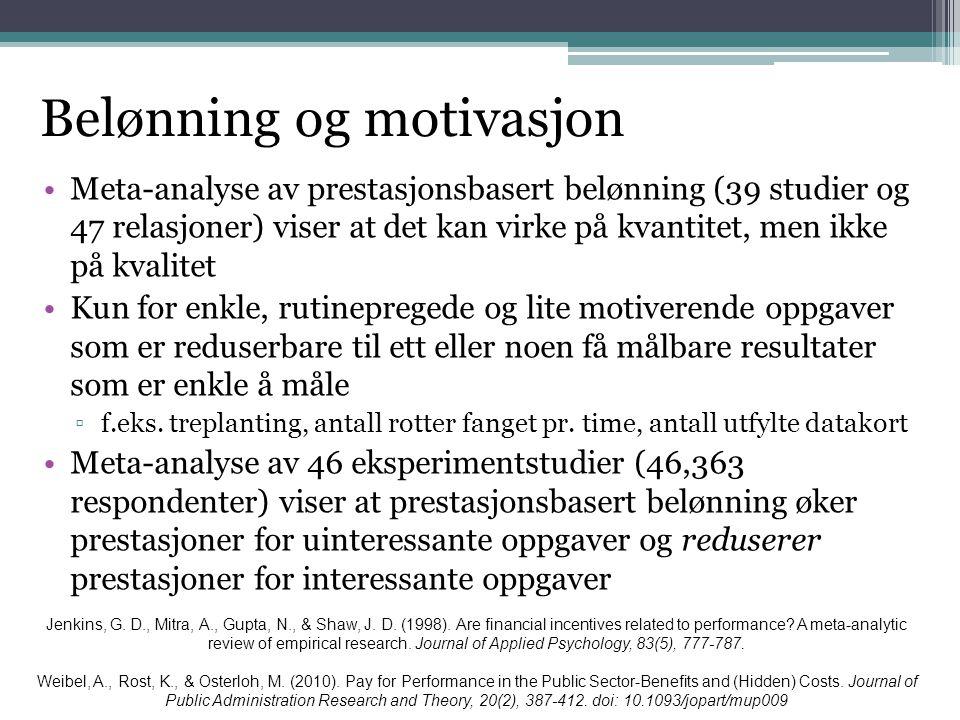 Belønning og motivasjon •Meta-analyse av prestasjonsbasert belønning (39 studier og 47 relasjoner) viser at det kan virke på kvantitet, men ikke på kv