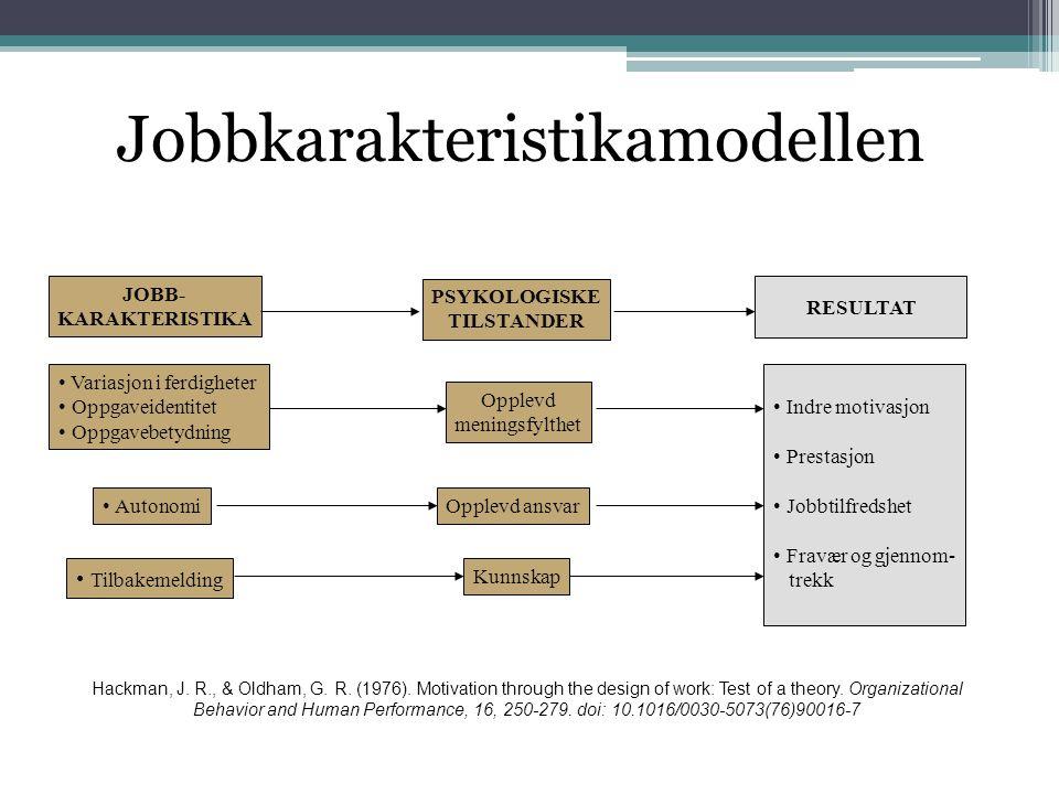JOBB- KARAKTERISTIKA PSYKOLOGISKE TILSTANDER RESULTAT • Variasjon i ferdigheter • Oppgaveidentitet • Oppgavebetydning • Autonomi • Tilbakemelding Oppl