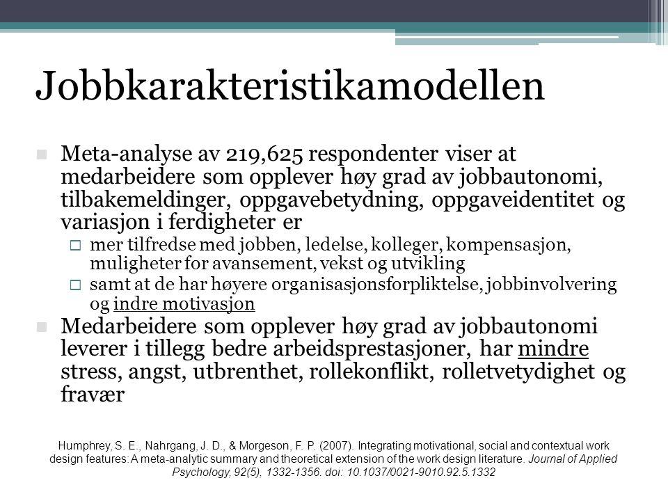  Meta-analyse av 219,625 respondenter viser at medarbeidere som opplever høy grad av jobbautonomi, tilbakemeldinger, oppgavebetydning, oppgaveidentit
