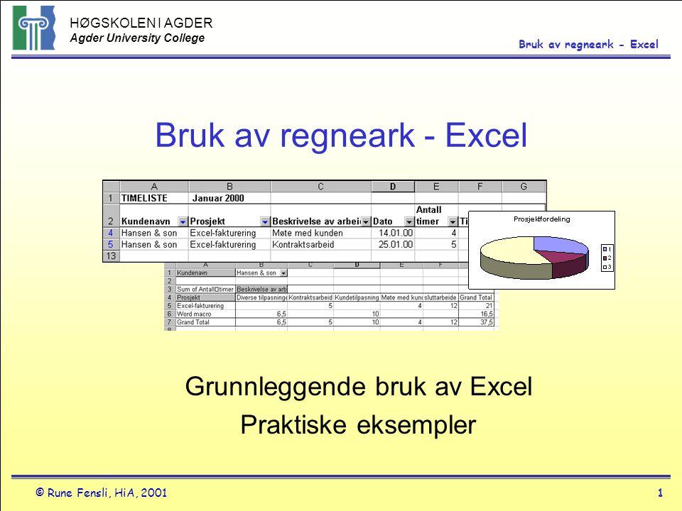 HØGSKOLEN I AGDER Agder University College © Rune Fensli, HiA, 20011 Bruk av regneark - Excel Grunnleggende bruk av Excel Praktiske eksempler