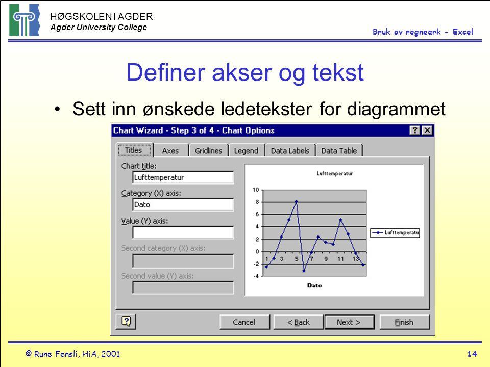 HØGSKOLEN I AGDER Agder University College © Rune Fensli, HiA, 200114 Bruk av regneark - Excel Definer akser og tekst •Sett inn ønskede ledetekster fo