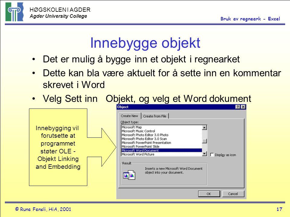 HØGSKOLEN I AGDER Agder University College © Rune Fensli, HiA, 200117 Bruk av regneark - Excel Innebygge objekt •Det er mulig å bygge inn et objekt i