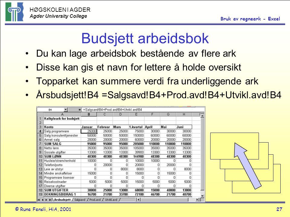HØGSKOLEN I AGDER Agder University College © Rune Fensli, HiA, 200127 Bruk av regneark - Excel Budsjett arbeidsbok •Du kan lage arbeidsbok bestående a