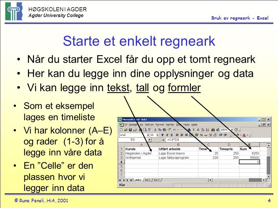 HØGSKOLEN I AGDER Agder University College © Rune Fensli, HiA, 20014 Bruk av regneark - Excel Starte et enkelt regneark •Når du starter Excel får du o