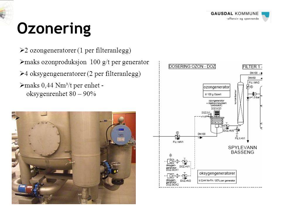 Ozonering  maks ozonproduksjon 100 g/t per generator  4 oksygengeneratorer (2 per filteranlegg)   2 ozongeneratorer (1 per filteranlegg)  maks 0,